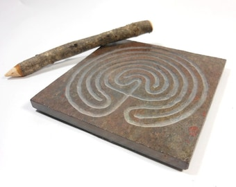 LABYRINTH STONE - Carved Troy Outline (2 paths) - Finger Maze Meditation Tile - Carved Slate - Moon Mazy