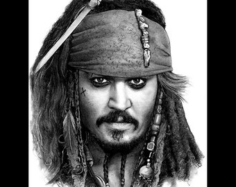 "Print 8x10"" - Captain Jack Sparrow - Pirates of the Caribbean Johnny Depp Sea Ocean Mustache Alcohol Adventure Fantasy Alcohol Lowbrow Pop"