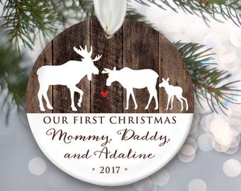 Moose family Ornament Our First Christmas as Mommy & Daddy Personalized Christmas Ornament New Parents Ornament Moose Christmas Gift OR923