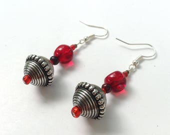 Red Dangle Earrings with Textured Ball and Scarlet Seed Beads, Dark Red Stones, Beaded Dangles, Crimson, Christmas Gift, Nickel Free Hooks