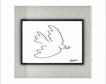 "Pablo Picasso ""The Dove"" Print on paper or canvas / Abstract Animals / up to A0 size / Minimalist Art / Wall Art / Kids Room Decor"
