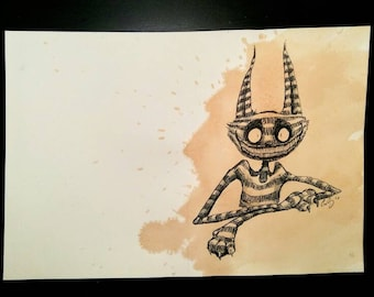 The Cheshire Cat-Original Tea-stained pen and ink drawing