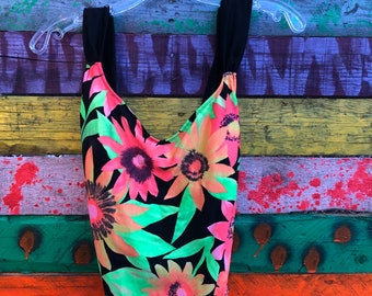 80s/90s hish cut one piece swimsuit, neon floral