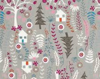 Forest Houses on Taupe from Timeless Treasure's Folklore Forest Collection