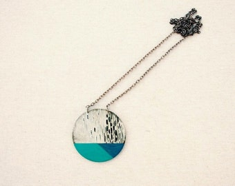 Long necklace, long pendant necklace, long necklace pendant, long blue necklace, marble, blue necklace, mint green, long statement necklace