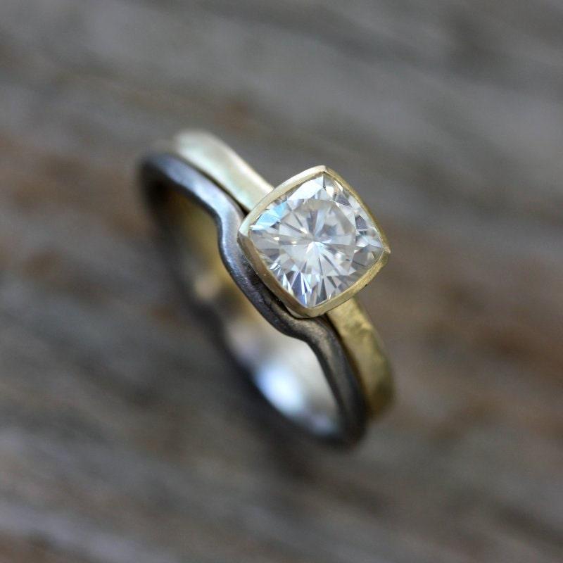 Handmade Forever One Cushion Engagement Ring Wedding Ring