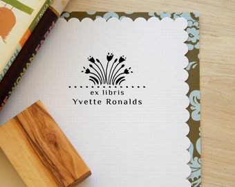 Greek Floral Pattern Inspired Bookplate Stamp on Olive Wood