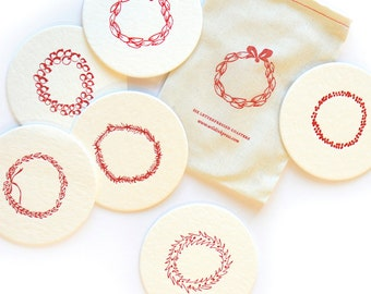 Merry Wreaths- Holiday Letterpress Coasters, set of 6