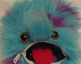 Cute Blue Monster Dice Bag - Fur - Zipper