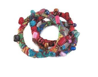 Bohemian  Bangles, Gypsy bangles, fiber and bead wrap bangles bracelets, set of three