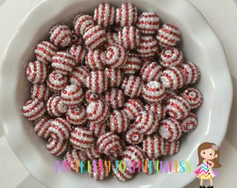 20mm Red & White Candy Cane AB Christmas Rhinestones Chunky Bubble Gum Beads Set of 10