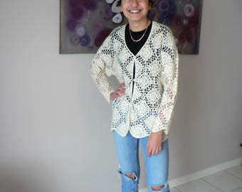 Women's Ivory Crocheted Cardigan in a Granny Square Pattern Size Small Medium