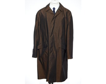 44R Vintage 60s SHARKSKIN Bronze Classic Size XL Raincoat Overcoat Rain Trench Coat Metallic vtg
