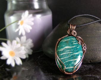 Wire Wrapped Jewelry - Amazonite Necklace - Copper Anniversary gift - Rustic Pendant Necklace - Gypsy Necklace - wire wrapped stone