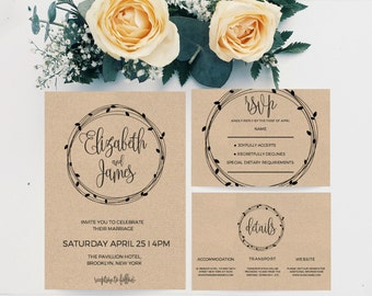 Wedding invitation template, Diy printable Wedding Invitation template, Printable Wedding Invitation Set, Printable wedding invite, DOWNLOAD