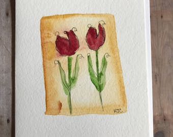 Watercolor Tulip Flower Card, Hand Painted Tulip Card, Original Card, Homemade Card, Hand Painted Greeting Cards