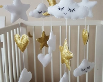 Baby mobile, baby cot mobil, white and gold mobile, star heart and cloud baby mobile, cloud mobile