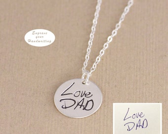 Personalized Disc, Handwritten Necklace - YOUR HANDWRITING - or Image, Sterling Silver, Gold or Rose Gold, Jewelry For Her