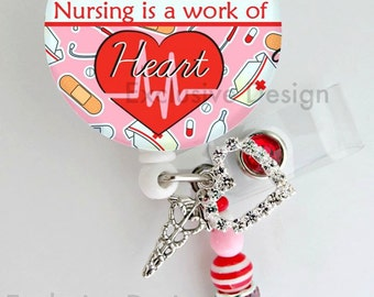 Nusring Quote badge holder~Retractable ID Badge Reel -  Badge ID Reel -Nurse badge (E95)