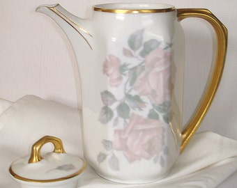 Bavarian Tea Pot Coffee Pot Vintage Heinrich & Co. White Porcelain Graceful Full Curved Gold Handle Pink Roses Gold Trim Seperate Lid