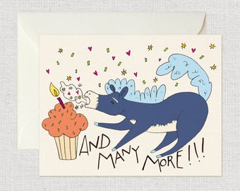And Many More! - Birthday Card, Donkey Card, Cupcake Card, Celebrate Card, Silly Card