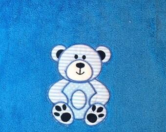Teddy Bear Applique Baby Blanket (Pink or Blue)
