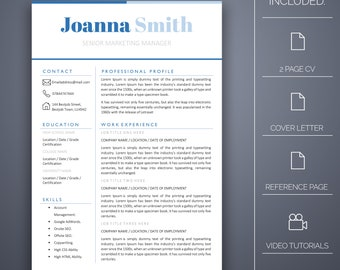 Resume Template Two- 4 pages Inc Cover Letter, Microsoft Word, Instant Download, Professional Resume Template, CV Template, CV Template Word