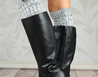 Fold Over Cable Knit Boot Cuffs - Gray