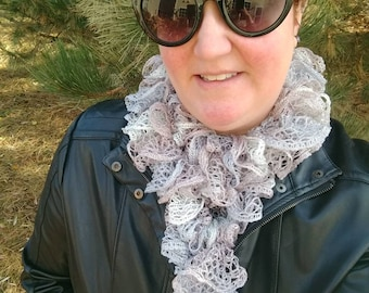 Knitted ruffle ribbon scarf. Potato chip scarf Light weight warmth for spring, Silver sparkle, Mother's Day gift, tween, BFF Ready to ship