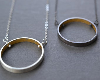 Wide Silver and Gold Circle Necklace- contemporary circle, minimal necklace, geometric circle, modern circle, eternity necklace