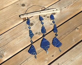 Suncatcher, Windchime, Seaglass, Silver metal leaves, Wire, Driftwood