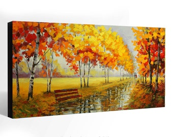 OIL Painting  Giclee Print Canvas Print Fine Art Print of ORIGINAL Painting LANDSCAPE Painting Fall Trees Fall Alley Painting
