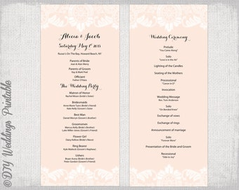DIY Program template Antique Lace wedding order of