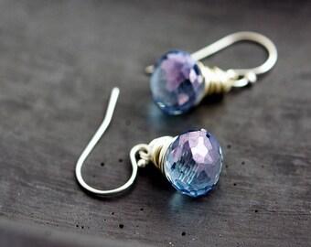Blue Crystal Earrings, Sterling Silver Denim Dangle Earrings, Denim Blue Quartz