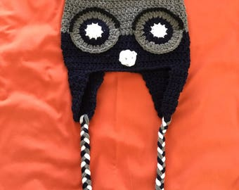 Child Owl Hat with Ear Flaps & Braids