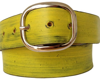 Sunny Yellow Distressed Leather Belt Strap - Full Grain Leather