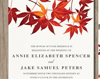 Fall leaves wedding invitation printable | simple, clean | red orange maple leaves | Invite + RSVP + Details + Thank You + 2 stickers