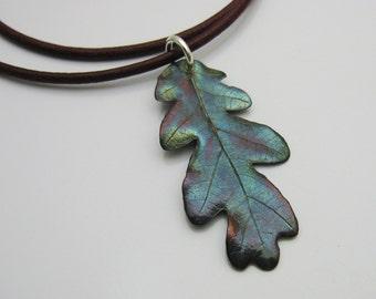 Handmade Silver Blue Oak Brush Leaf on Wine Leather Cord Necklace, Leaf Jewelry, Tree Jewelry, Nature Jewelry, Oak Tree, Oak Leaf, Colorado