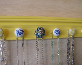 YOU CHOOSE 5,7 or 9 KNOBS Yellow and blue jewelry organizer,This necklace rack wall hung necklace holder great gift of jewelry storage