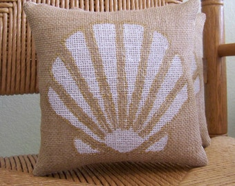 Beach pillow, Sea Shell pillow, Burlap pillow, stenciled pillow, Nautical pillow, gold pillow, FREE SHIPPING!