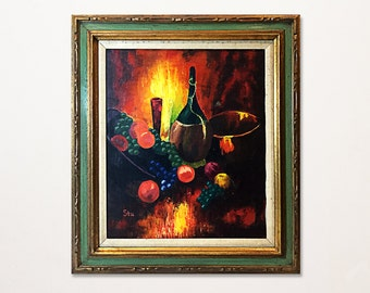 Still Life Oil Painting of Wine and Fruit by Stu, 1970s