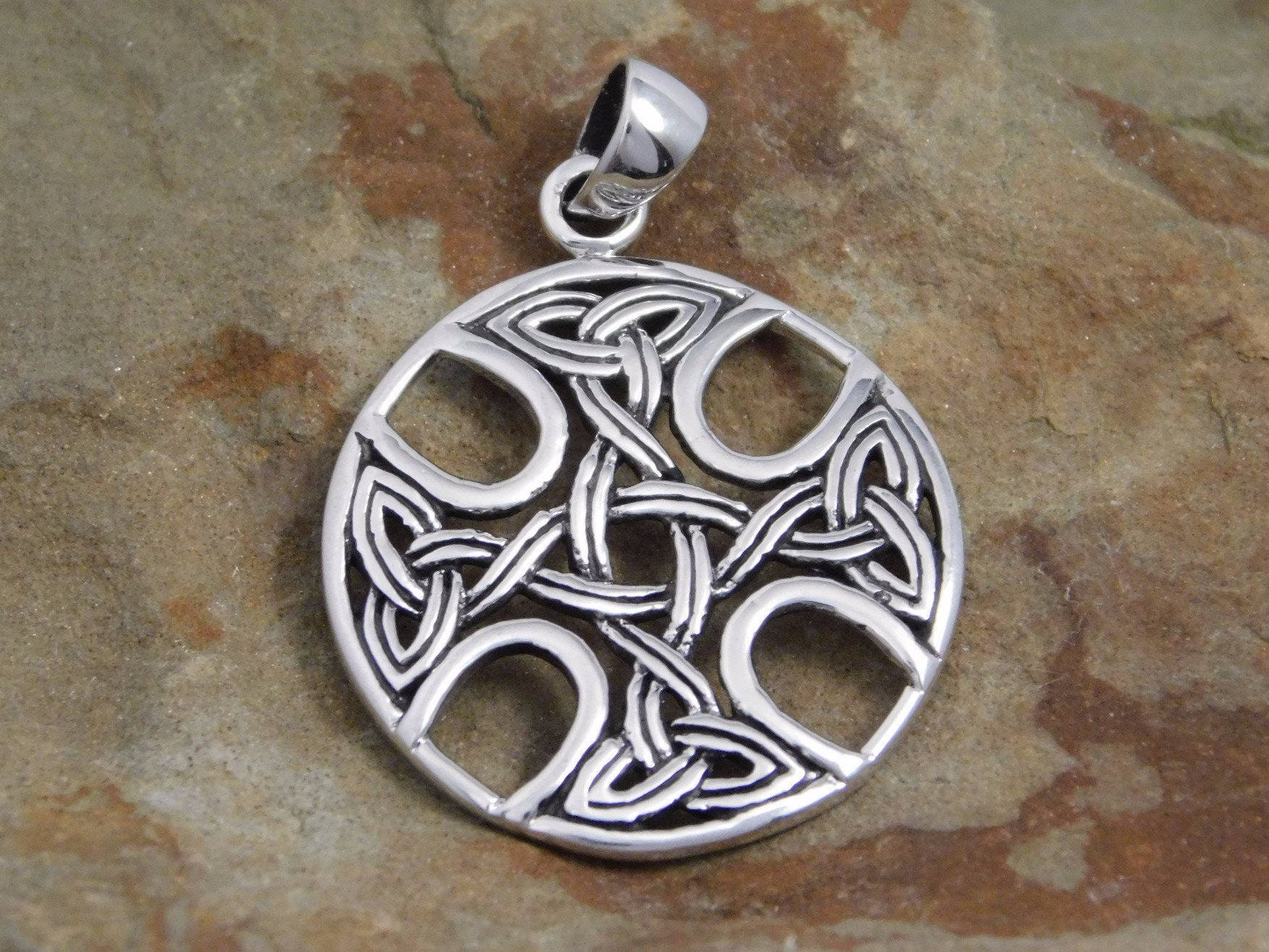 set sterling product warrior silver celtic pendant zircon large with emerald green