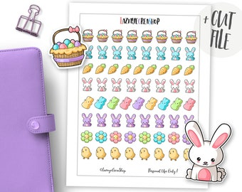 Happy Easter Stickers, Printable Planner Stickers, Bunny Printable Kawaii Stickers, Cut File Stickers, Bullet Journal stickers Cute