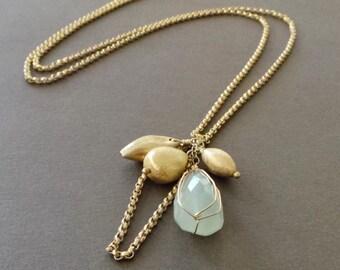 Chalcedony Drop Pendant Vermeil Long Necklace - Sample Sale