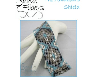 Peyote Pattern - The Amazon's Shield Peyote Cuff / Bracelet  - A Sand Fibers For Personal/Commercial Use PDF Pattern
