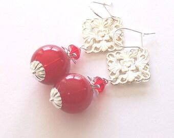 Retro Red Silver Earrings