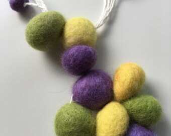 linen necklace with hand felted beads