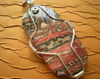 Stunning Wire-Wrapped Jasper Pendant