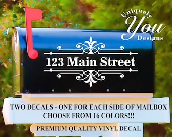 Mailbox Decal #8 - Custom Personalized Vinyl Mailbox Decal  - SET OF 2 - 16 Colors To Choose From!