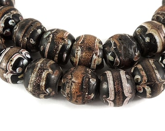 Fancy Venetian Trade Beads Black Aventurine African 119236